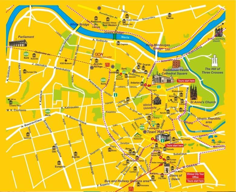 карта вильнюса с достопримечательностями на русском языке скачать