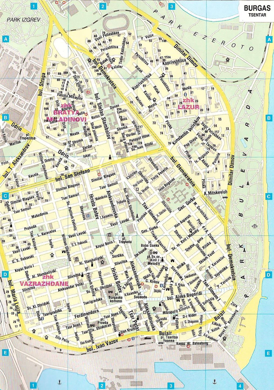 Burgas Na Karte Mira Podrobnye Karty Burgasa Karta Otelej