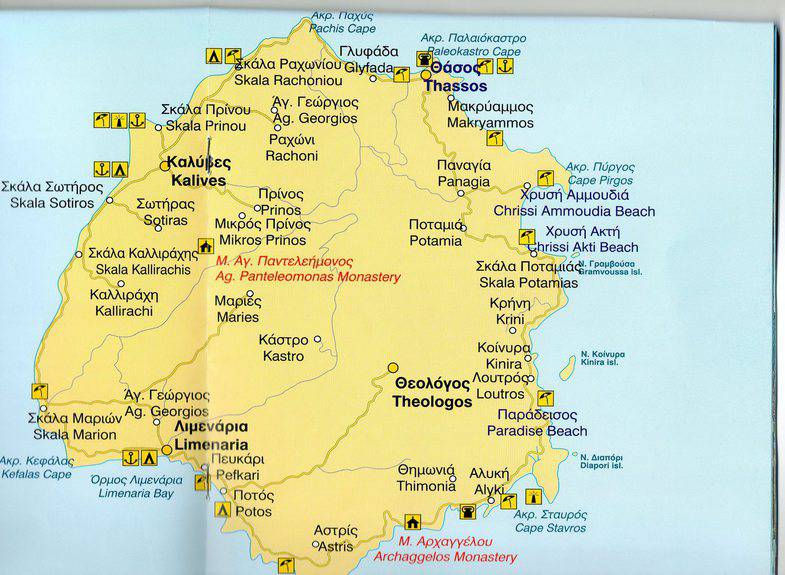 Tasos Na Karte Mira Podrobnye Karty Tasosa Karta Otelej