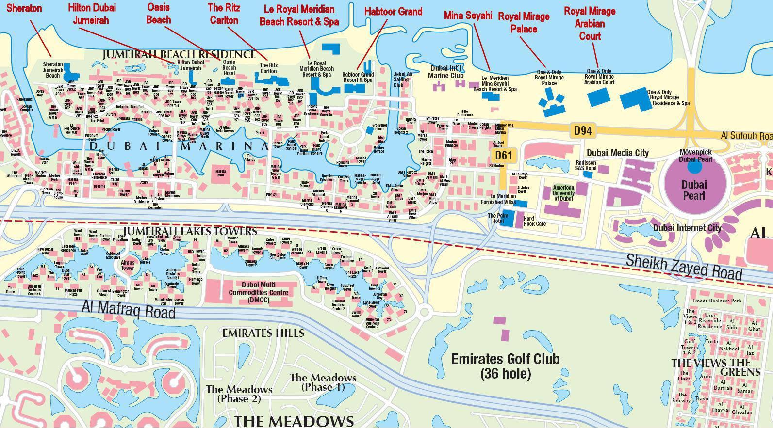 дубай карта отелей джумейра