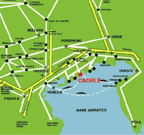 Отели Каорле на карте