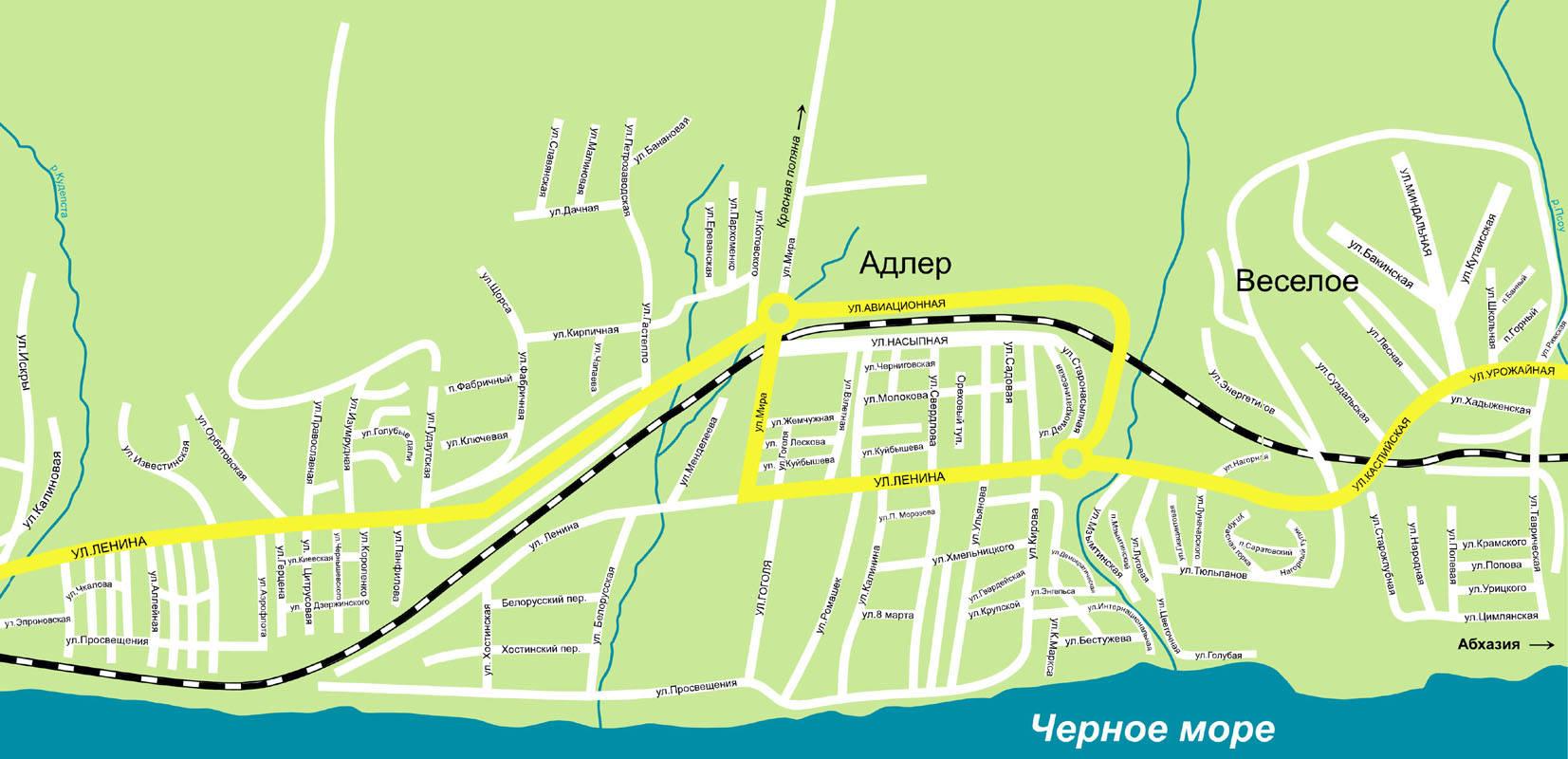 карта города хоста с улицами фото знать