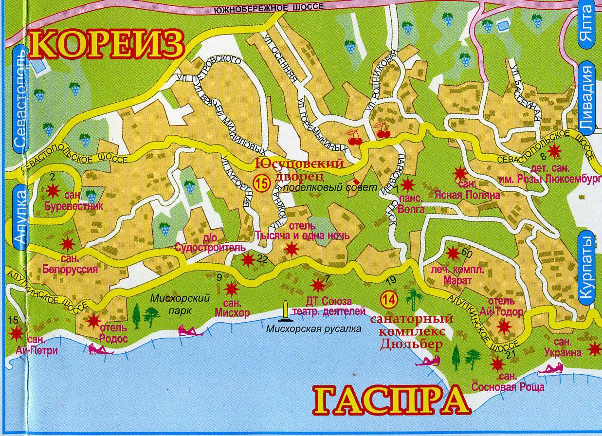 Карта достопримечательностей Крыма | Достопримечательности