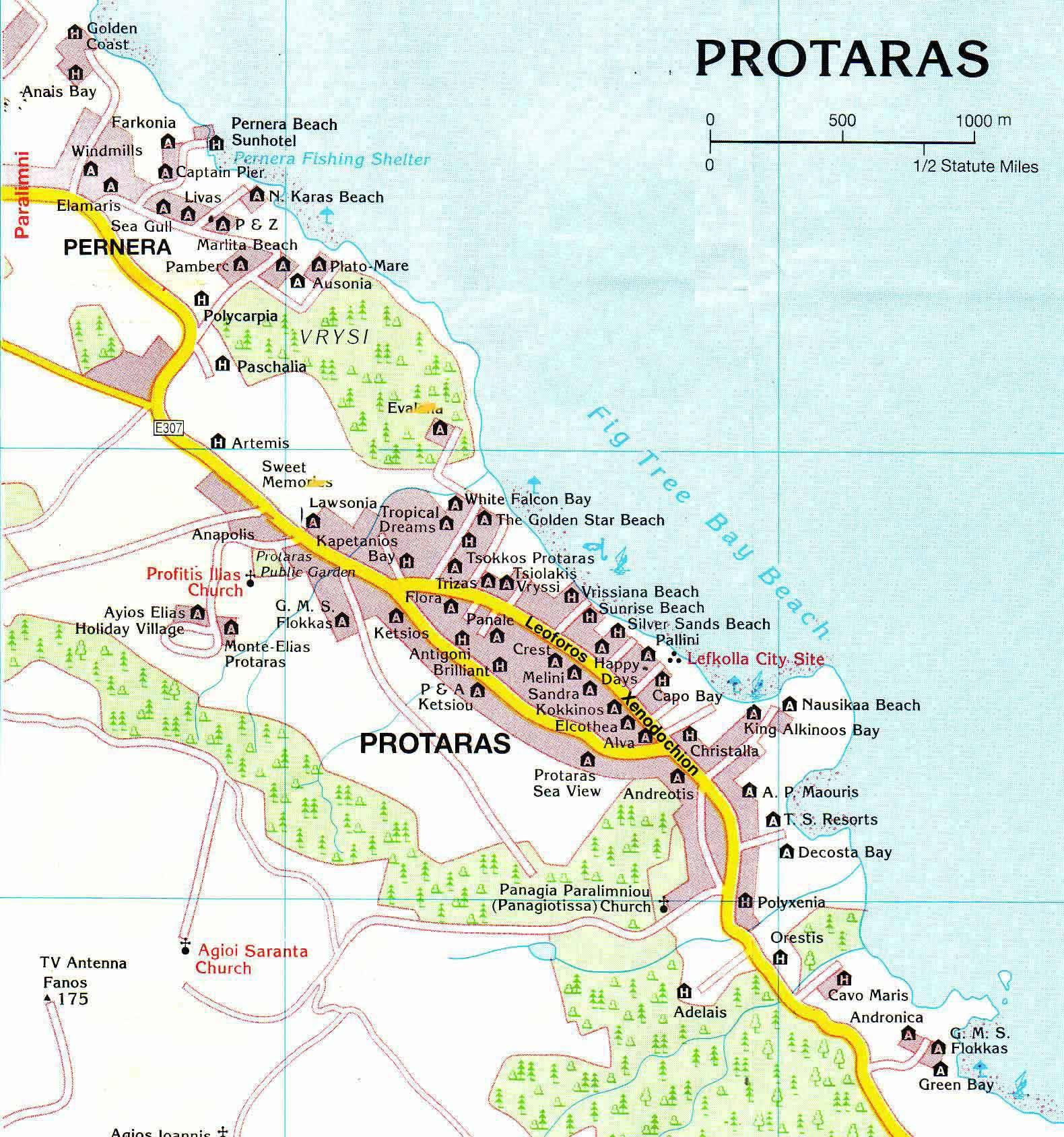 Расстояние от пафоса до протараса км