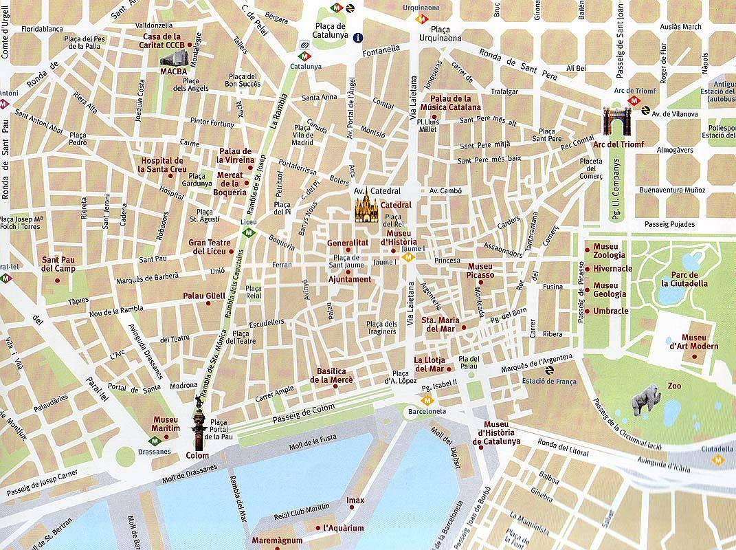 Карта и картинки барселона